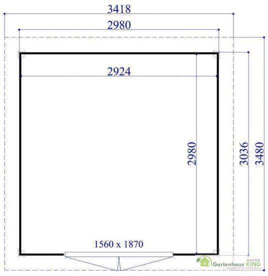 Flachdach Gartenhaus Sydney 9 - 28212 - Grundriss