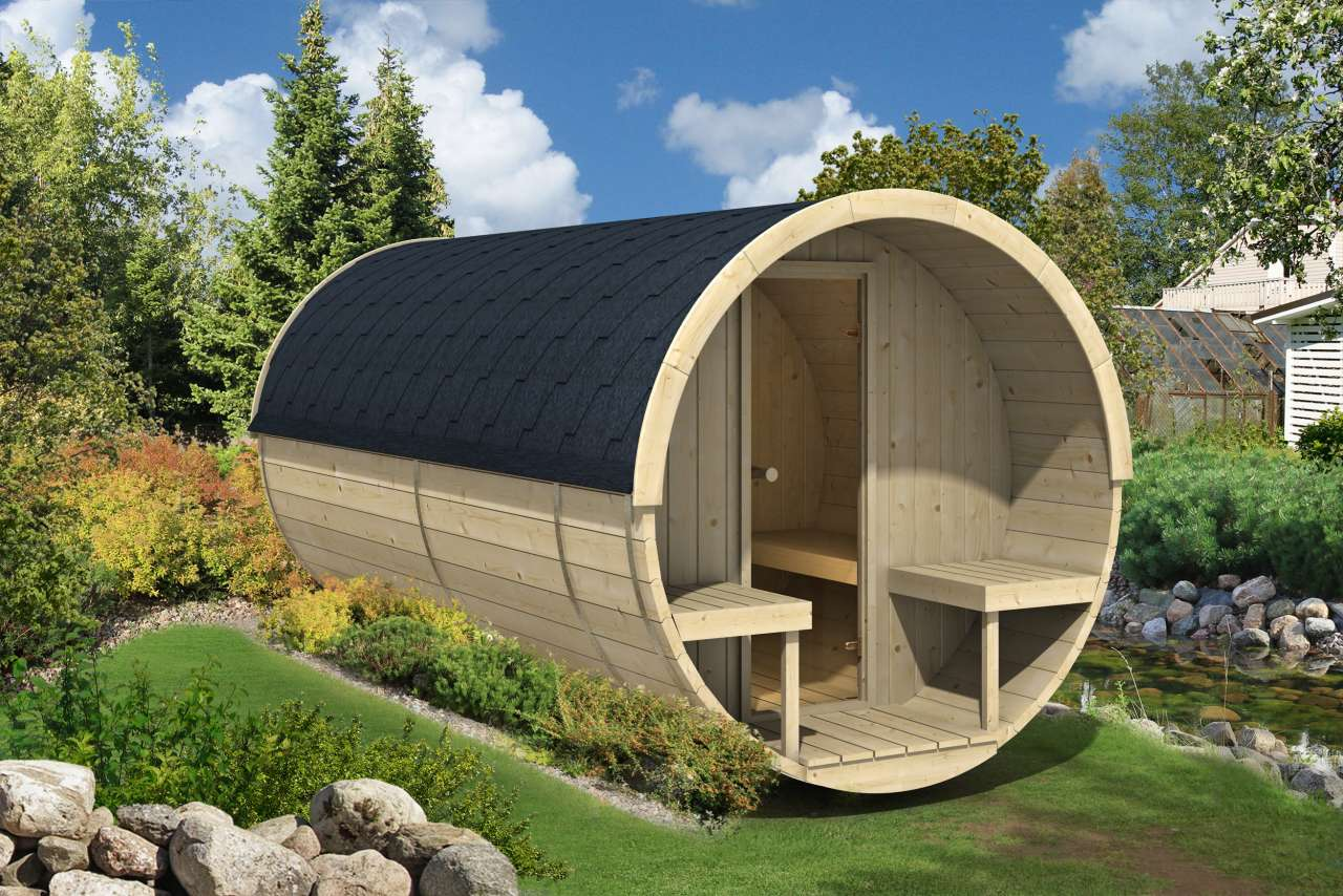 fasssauna saunafass 400 montiert 205cm gartenhaus. Black Bedroom Furniture Sets. Home Design Ideas