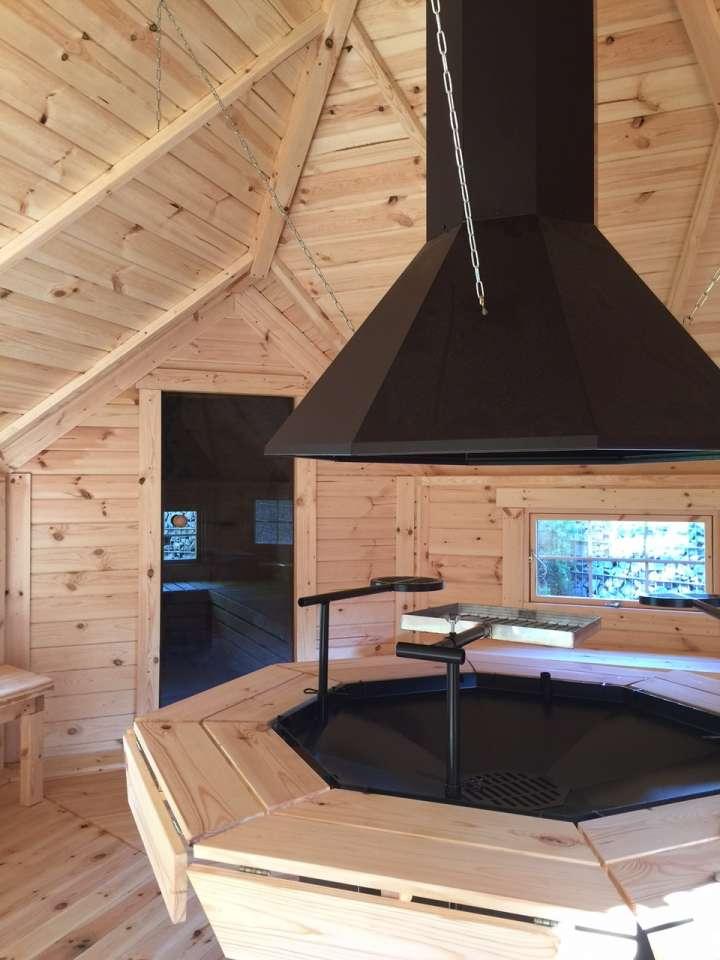 grillkota elegance 16 5 m mit saunaanbau 8 eckig gartenhaus. Black Bedroom Furniture Sets. Home Design Ideas
