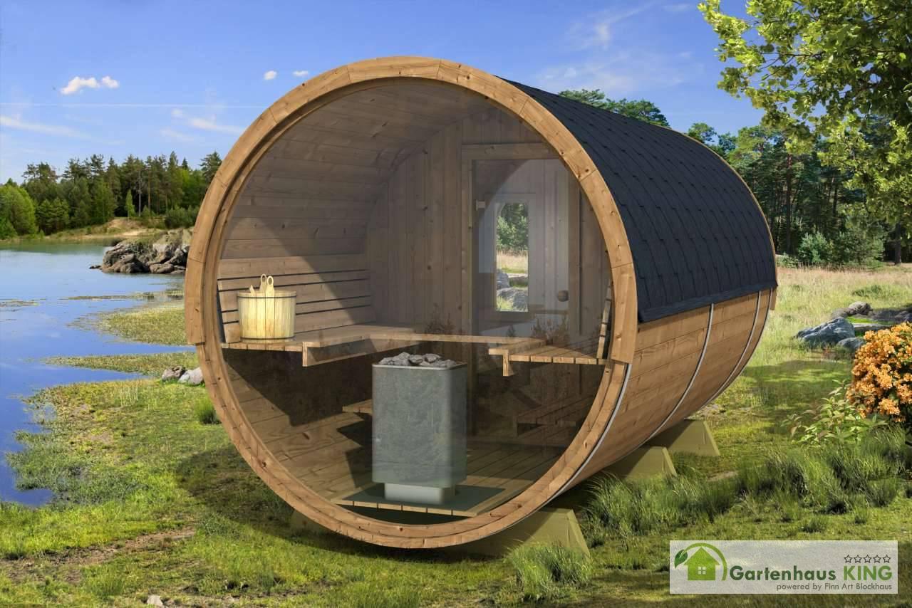 Gartensauna Modern fasssauna 400 deluxe big saunafass der oberklasse aus thermoholz