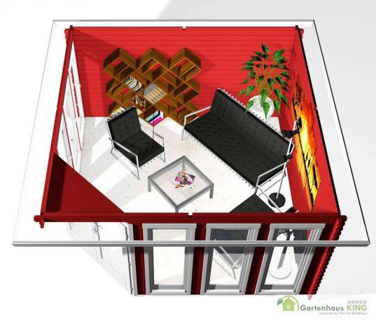 5-Eck Gartenhaus York 3 - 40036 3D