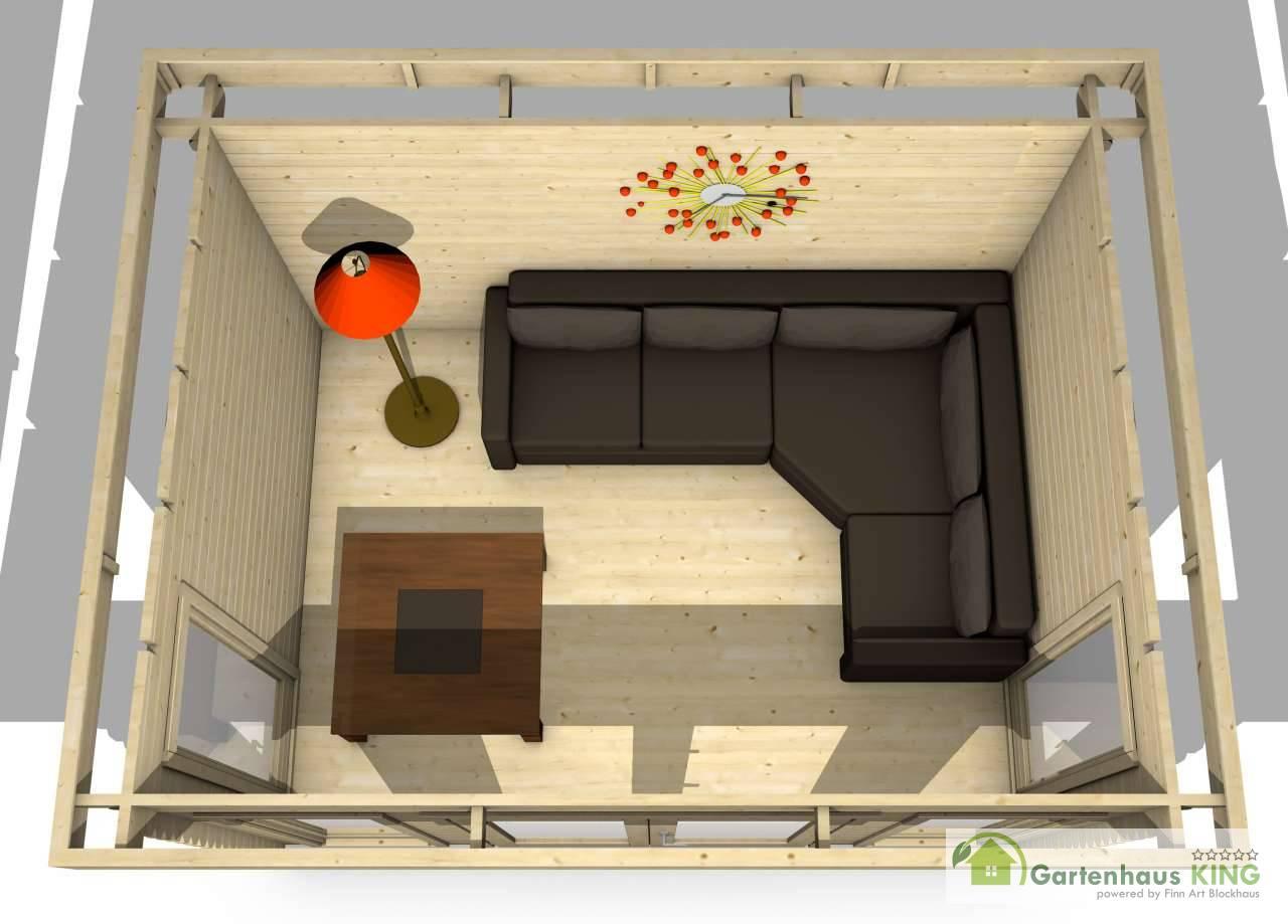 Flachdach gartenhaus york 6 gartenhaus for Blockhaus modern einrichten
