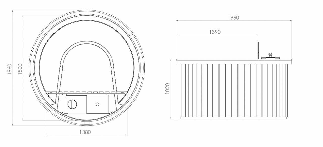 badebottich 180 exklusiv innenofen thermoholz granit. Black Bedroom Furniture Sets. Home Design Ideas