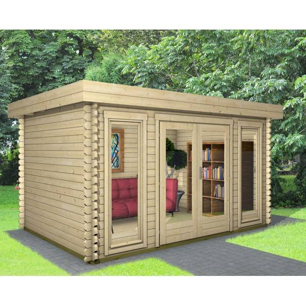 40 mm gartenhaus york 5 390 x 390 holz ger tehaus blockhaus schuppen pultdach. Black Bedroom Furniture Sets. Home Design Ideas