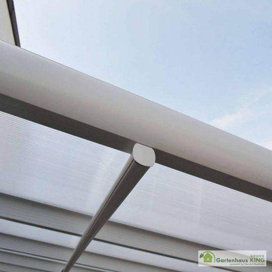 Terrassendach Bausatz HD 1 Polycarbonat transparent Alu-Stützen weiss