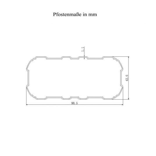 Terrassendach Bausatz HD 2 Polycarbonat transparent Alu-Stützen weiss