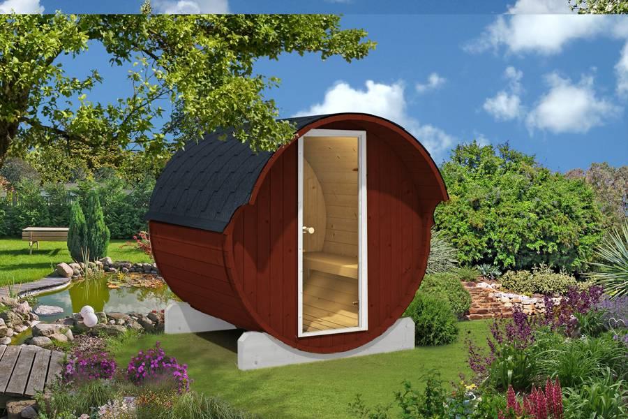 fasssauna saunafass 220 montiert gartenhaus. Black Bedroom Furniture Sets. Home Design Ideas