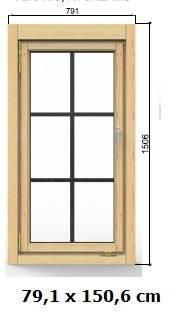 Fenster 79 x 150 cm Modell B1 ISO