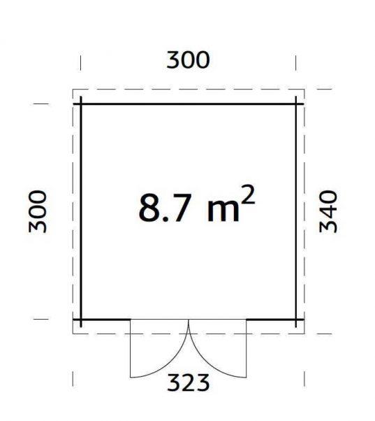 Flachdach Gartenhaus Palmako Ella 8,7 m²