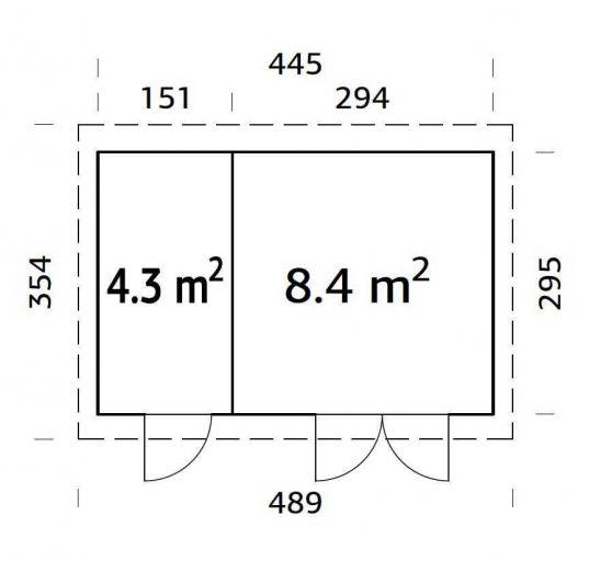 Flachdach Gartenhaus Palmako Lara 12,7 m²