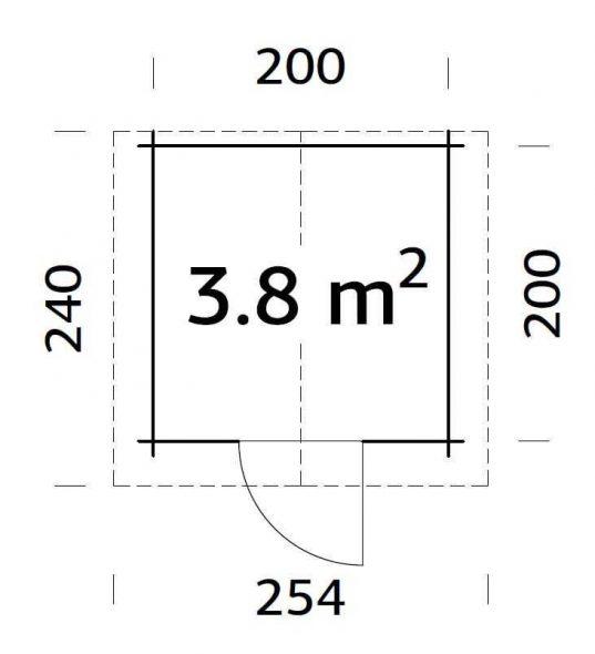 Grundriss Palmako Gartenhaus VIVIAN 3,8