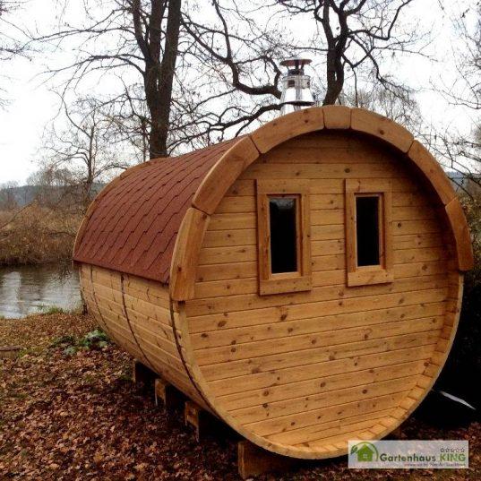 Finn Art Fass-Sauna Premium 350 Rückansicht