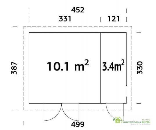 Flachdach Gerätehaus Palmako Kalle 13,5 m²