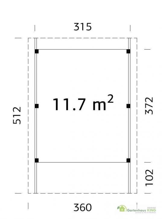Palmako Holzcarport Karl 11,7 Grundriss