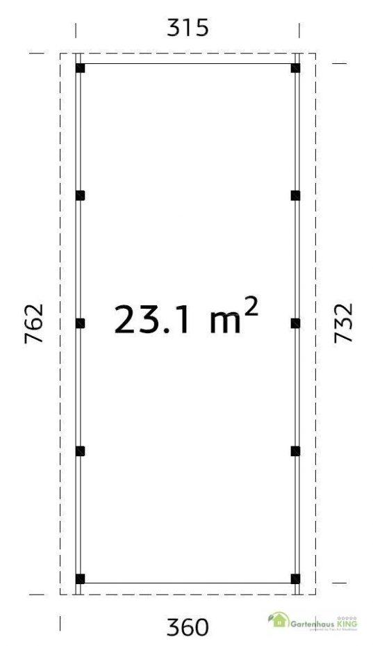 Palmako Holzcarport Karl 23,1 Grundriss