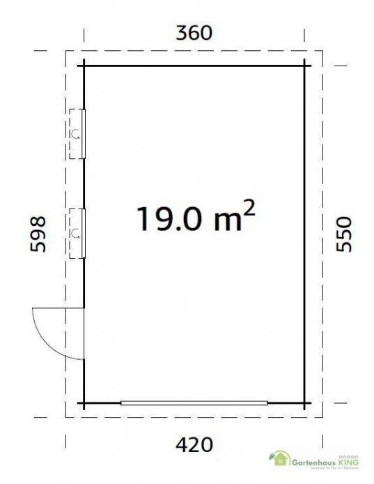 Flachdach Holzgarage Palmako Rasmus 19,0 m² mit Holztor