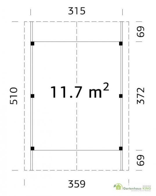 Palmako Holzcarport Robert 11,7 Grundriss