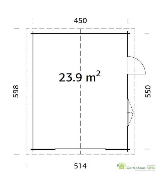 Palmako Holzgarage Roger 23,9 m² Grundriss