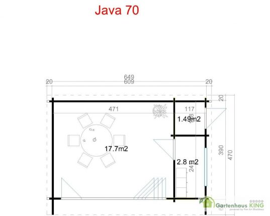 Flachdach Gartenhaus Lasita Maja Java 70