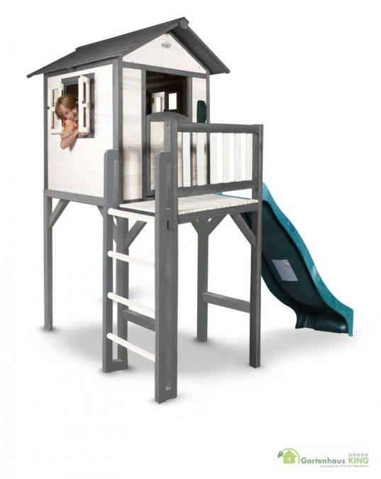 Sunny Kinderspielhaus Lodge XXL grau-weiss + Rutsche
