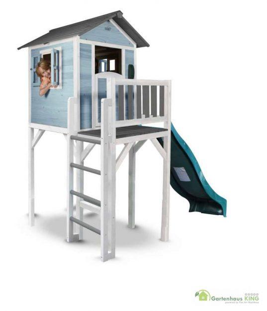Sunny Kinderspielhaus Lodge XXL blau-weiss + Rutsche
