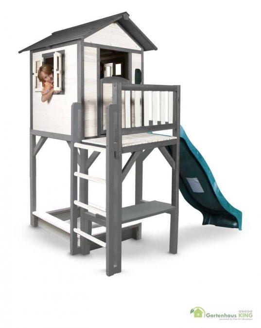 Sunny Kinderspielhaus Lodge XXL Plus grau-weiss + Rutsche