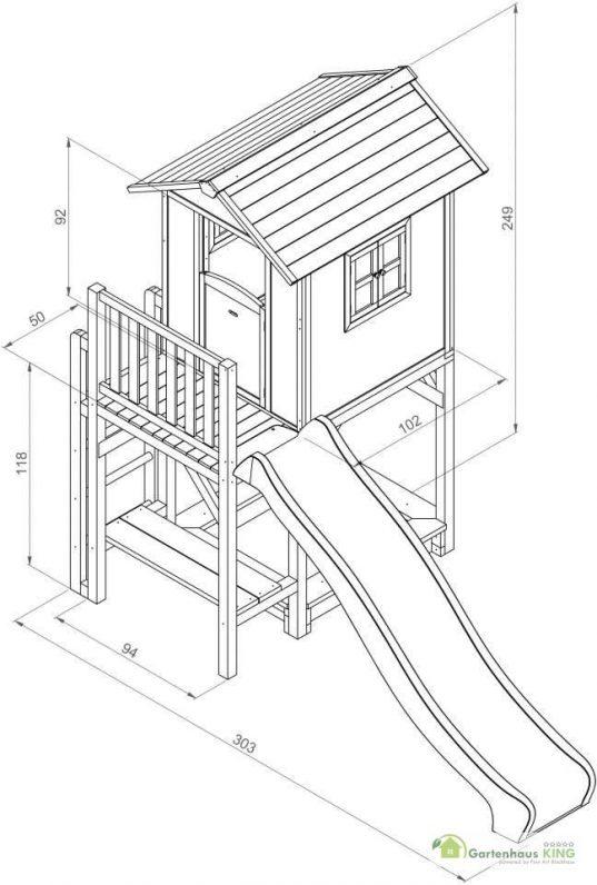 Sunny Kinderspielhaus Lodge XXL Plus + Rutsche Grundriss