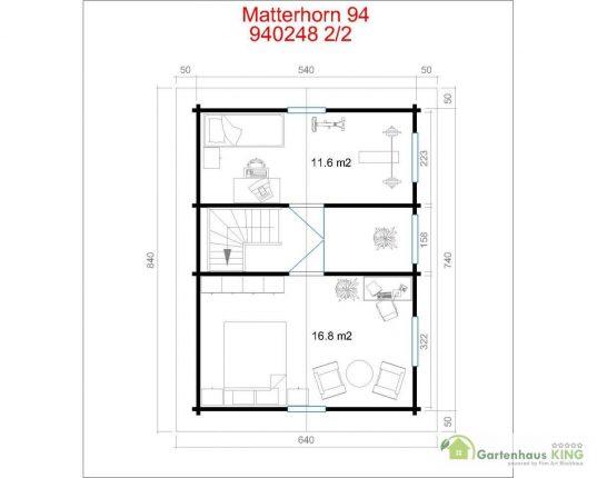Lasita Maja Wochenendhaus Matterhorn 94 Grundriss Obergeschoss