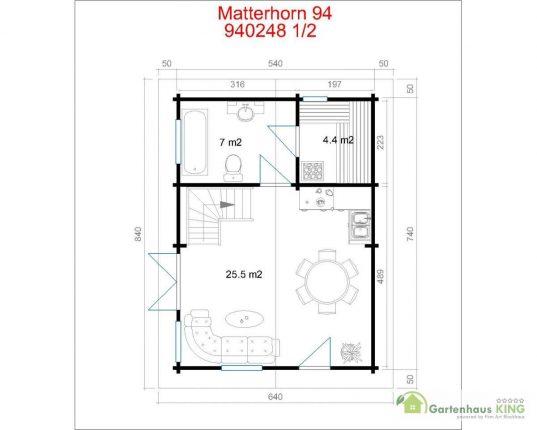 Lasita Maja Wochenendhaus Matterhorn 94 Grundriss Erdgeschoss