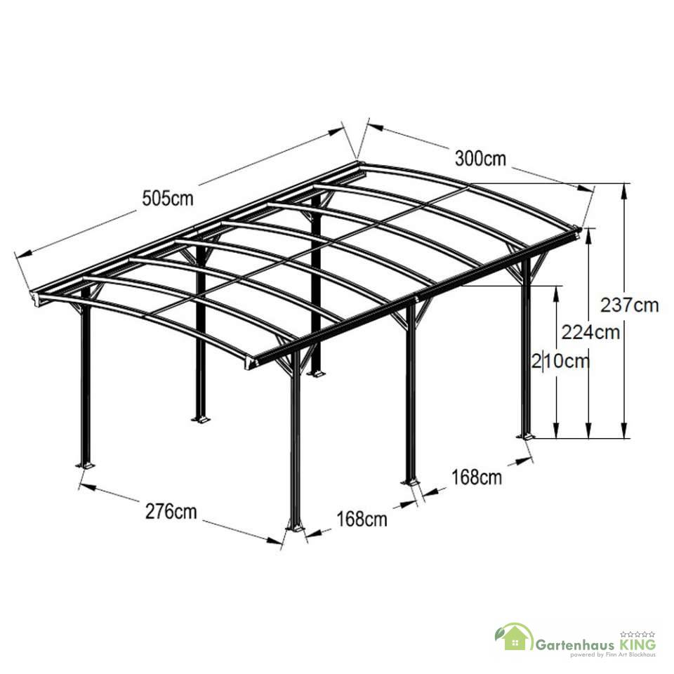 aluminium carport falo anthrazit gartenhaus. Black Bedroom Furniture Sets. Home Design Ideas