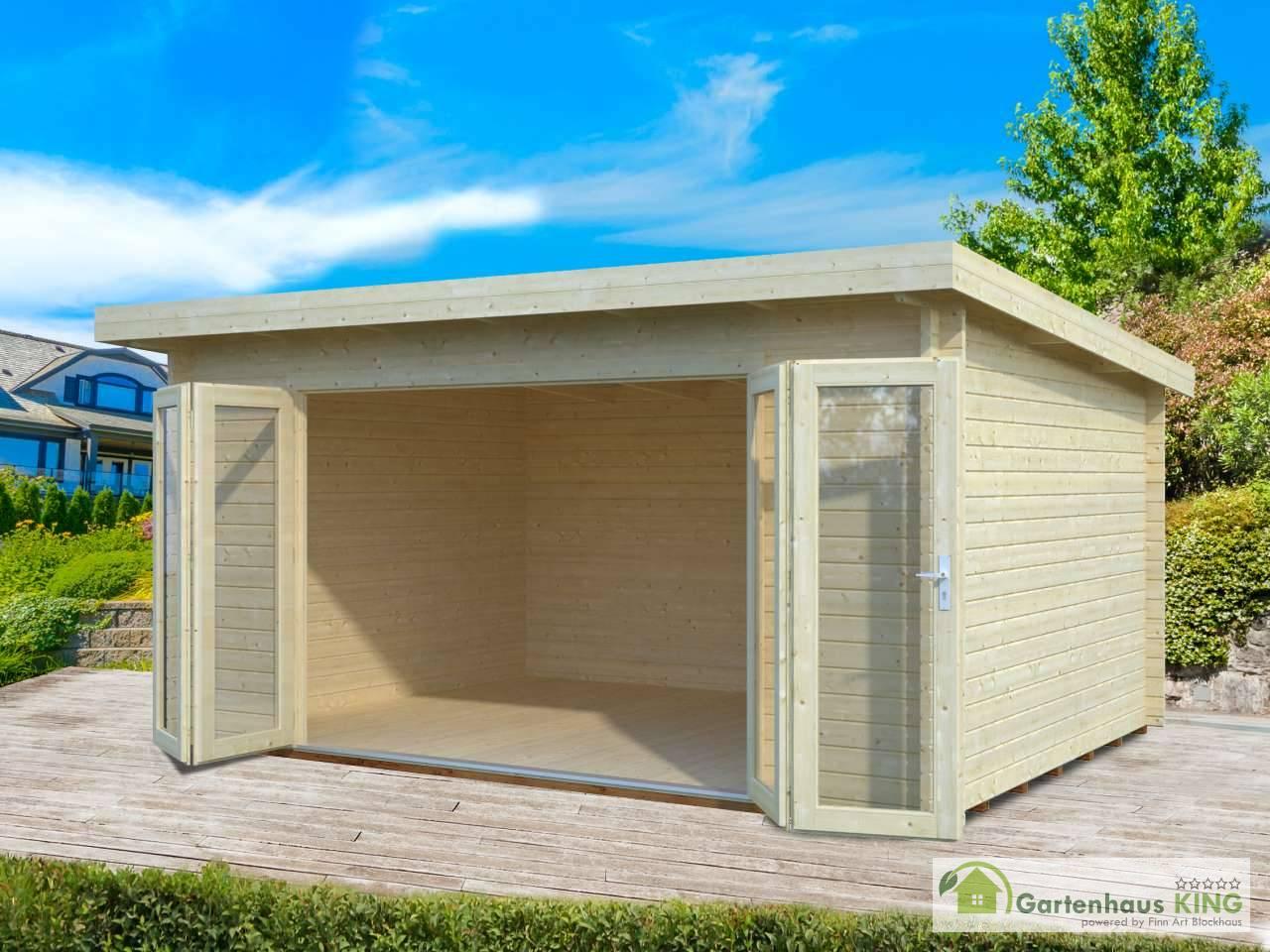flachdach gartenhaus palmako lea 14,2 m² - gartenhaus-king.de