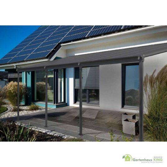 Terrassendach Bausatz HD 2 Polycarbonat transparent Alu-Stützen anthrazit
