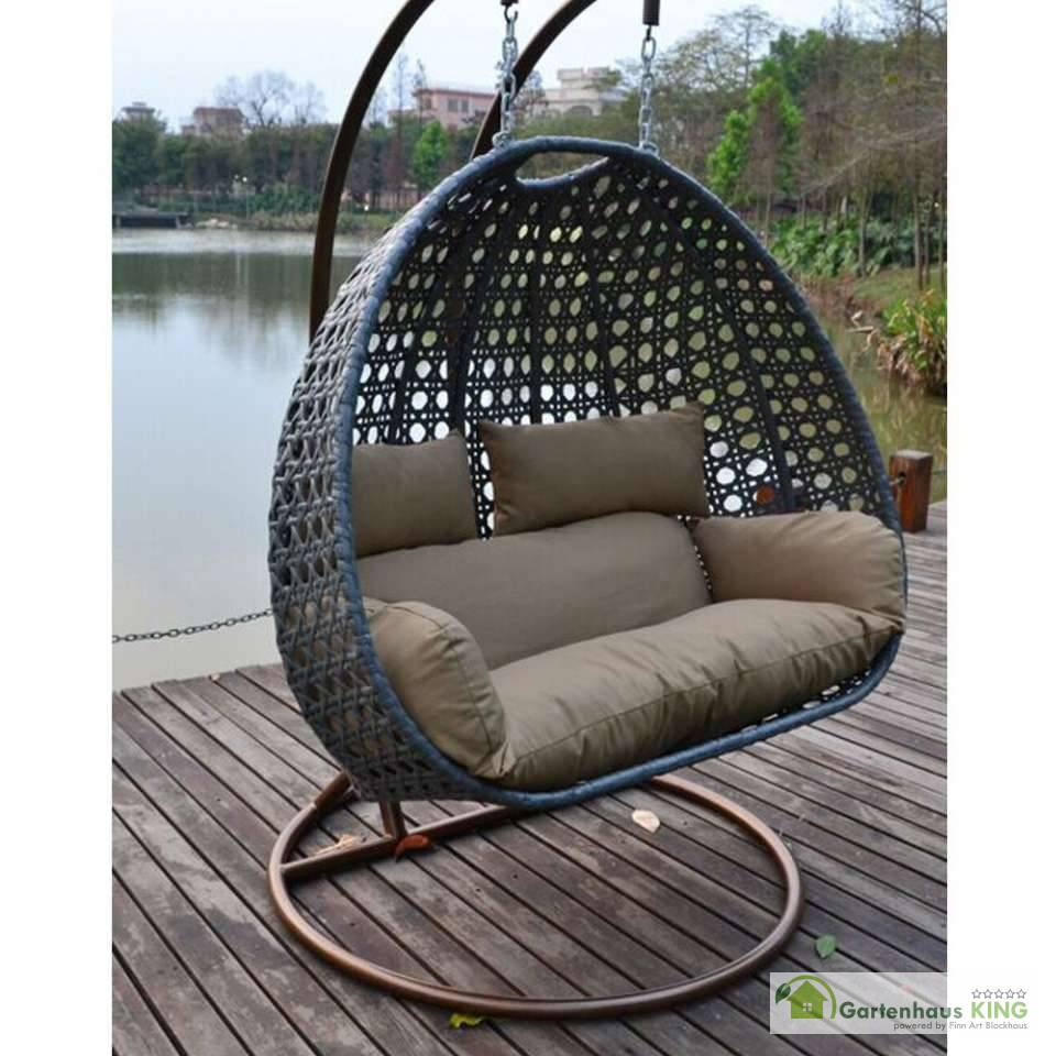 polyrattan h ngesessel twin grau gartenhaus. Black Bedroom Furniture Sets. Home Design Ideas