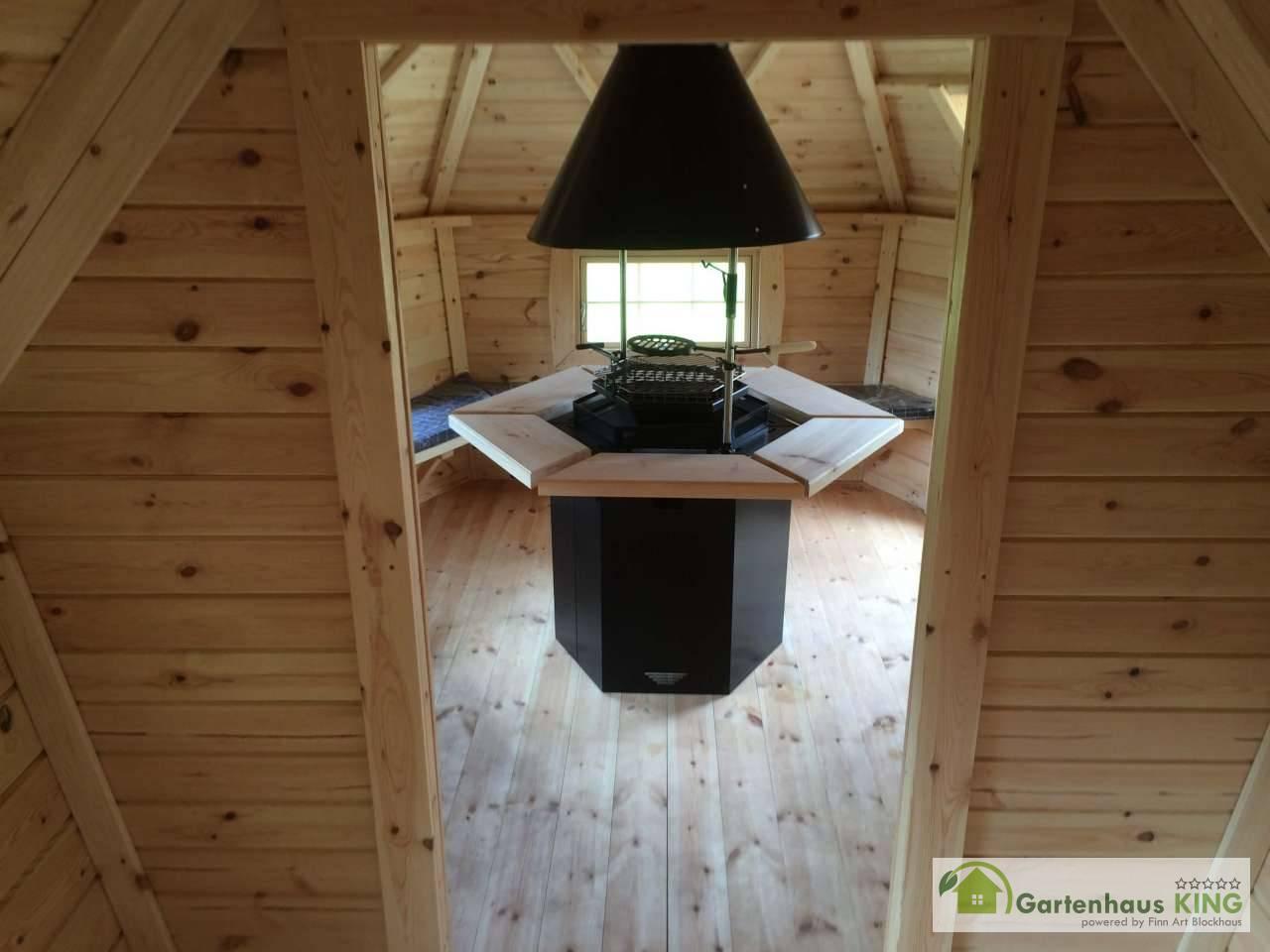Finn Art Grillkota Exklusiv 9,2 m² mit 2m Anbau Rot