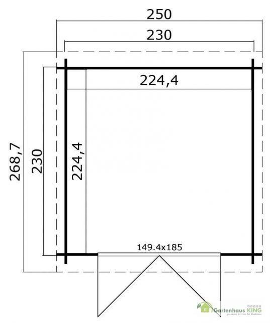 Pultdach Gerätehaus Lasita Maja Indi 230