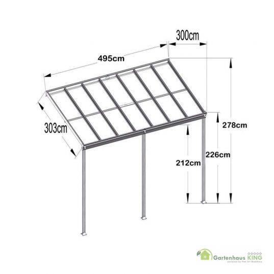 Terrassendach Bausatz HD 3 Polycarbonat transparent Alu-Stützen weiss