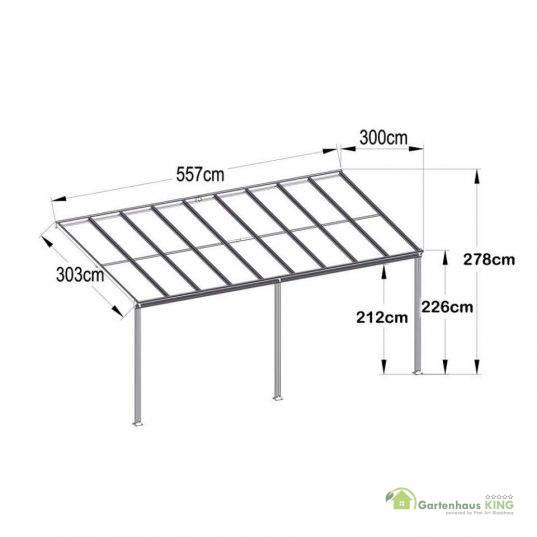 Terrassendach Bausatz HD 4 Polycarbonat transparent Alu-Stützen weiss
