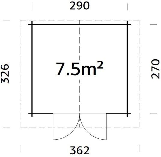 Palmako Gartenhaus Tina 7,5 m2 mit Metalldach