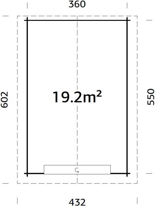 Palmako Holzgarage Tomas 19,2 m² mit Sektionaltor