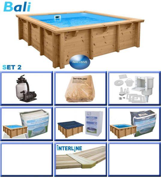 Interline Holzpool Bali 210x210x78 cm Poolset 2