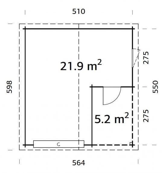 Palmako Holzgarage Roger 21,9+5,2 m² mit Sektionaltor