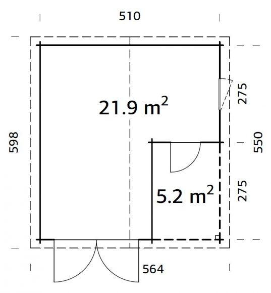Palmako Holzgarage Roger 21,9+5,2 m² mit Holztor
