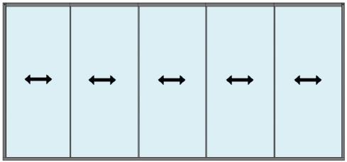 Glasschiebewandsystem 5-spurig mit 10mm Scheiben für Superior