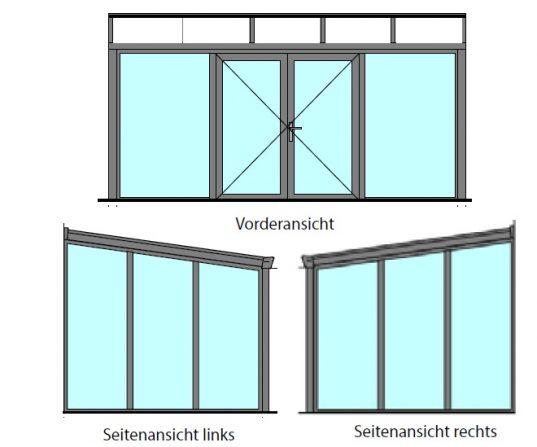Gartenzimmer mit Doppeltür und Glas Dacheindeckung