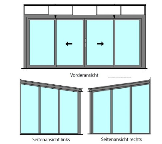 Gartenzimmer mit Schiebetür und Glas Dacheindeckung