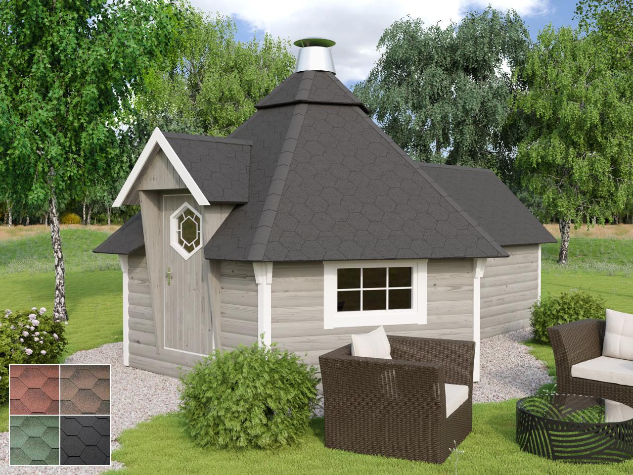 Dach 90% vorgeschindelt für Kota 12 m2 mit Anbau Modell Finnland