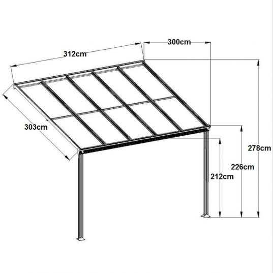 Terrassendach Bausatz HD 1 Polycarbonat transparent Alu-Stützen anthrazit