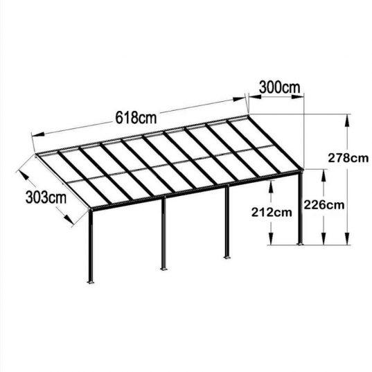 Terrassendach Bausatz HD 5 Polycarbonat transparent Alu-Stützen weiss