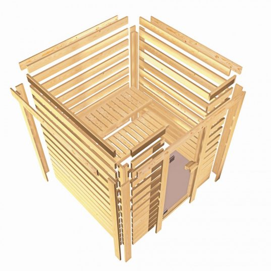 Karibu Plug & Play Sauna Cilja mit Eckeinstieg 38 mm