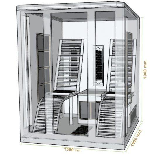 Infrarotkabine Helsinki150 mit Triplex-Heizsystem und Hemlockholz